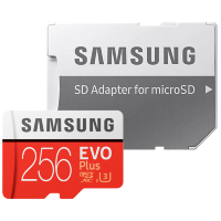 Карта памяти Samsung EVO Plus microSDXC Memory Card 256Gb Class10 UHS-I U3 + SD Adapter